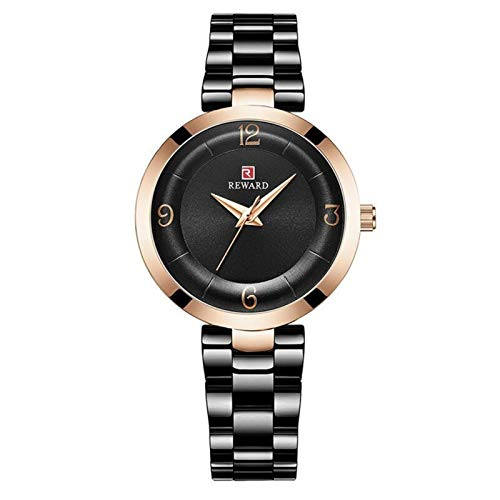 JCCOZ-URG Marca Impermeable Elegante Casual Cuarzo único púrpura Mujeres Visten el Reloj Relojes Mujer Reloj Señora URG (Color : Negro)