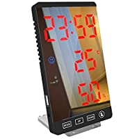 クリエイティブデジタル時計、多機能ツェッペリンミラー温度計と湿度計電子天気デジタル目覚まし時計、デスクトップデコレーション/ホームキッチンリビングルームに適し (Color : D)