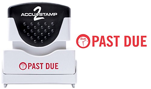 """ACCU-STAMP2 Message Stamp with Shutter, 1-Color, PAST DUE, 1-5/8"""" x 1/2"""" Impression, Pre-Ink, Red Ink (035571)"""