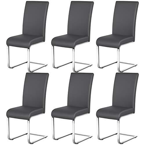 Yaheetech 6er Set Esszimmerstühle Wohnzimmerstuhl Küchenstuhl Schwingstuhl, Belastbarkeit 135 kg Grau