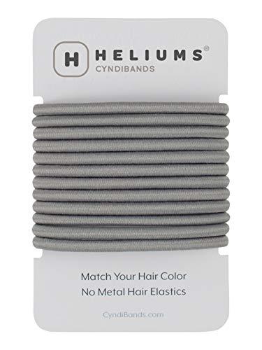 Gray Color Match No-Metal 4mm Elastics Hair Ties - 12 Count