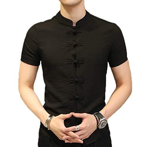 Camisas de Kung Fu de Estilo Chino para Hombres Camisas de Manga Corta Delgadas con Cuello Retro con Botones de Rana