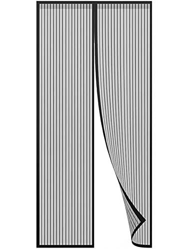 Mosquitera Magnética,Tejido Súper Fino Para Dejar Pasar El Aire.Cierre Magnético Automático Que Evita el Paso de Insectos,Negro-A,95*195CM