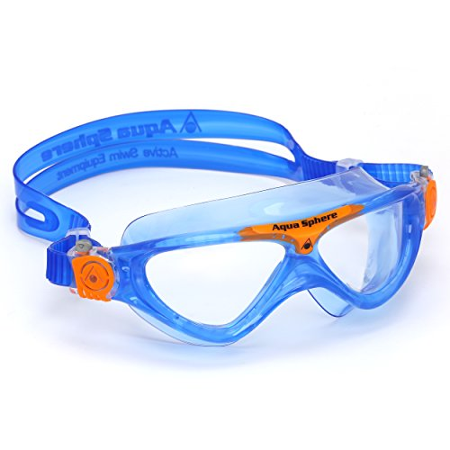 Aqua Sphere Unisex-Youth Vista Jr Schwimmmaske, blau orange/transparentes Glas, Einheitsgröße