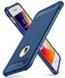 iPhone 7/8 Case with Card Holder and [ Screen Protector Tempered Glass x2Pack] SUPBEC Protective Ultra-Thin-Slim Cover with Silicone TPU Shockproof Rubber Wallet Case for iPhone7 / iPhone8-Blue