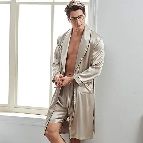 KTUCN Shorts mit langen Ärmeln, weich und glatt, aus Seide, für Herren, Frühling,...