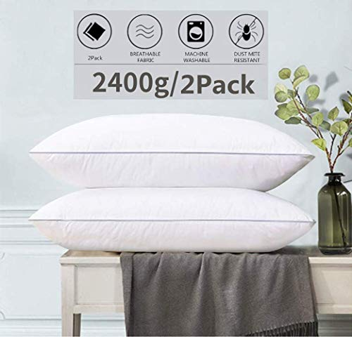 Pillows for Sleeping 2 Pack 20'x 30' 2400g/2Pack Cooling Bed Hotel LUXURY Pillows Down Alternative Hypoallergenic Pillows for Side Back and Stomach Sleepers, Soft and Adjustable Gusseted Pillow