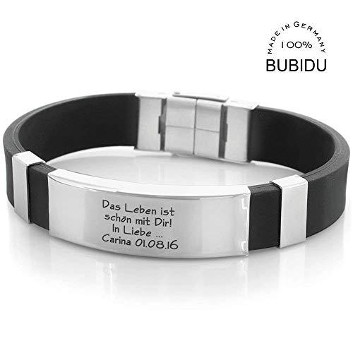 Herrenarmband Kautschuk mit Gravur schwarz Männer Armband Männerschmuck Geschenk für Mann Freund...