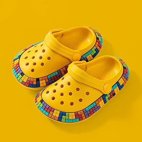 tongchuang Cartoon Children Bath Slippers Multicolor Tetris Pattern Indoor Non-Slip Kids Shoes Lightweight Holes Home Boys Girls Slides (Color : Yellow, Shoe Size : 210)