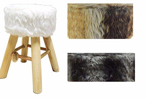 Riyashop Fellhocker Hocker Sitzhocker Shemel Fußhocker Holz Felloptik Stuhl Fell (Weiß)