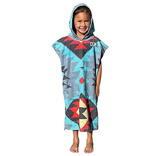 Cor Infantil Poncho Toalla Robe luz y Oscuro Azul para Edades 3 - 10 (Tribal)
