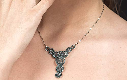 Collana Cancer Zodiac con Original Swarovski Crystals | Necklace | Nyacklance | Girocollo | Tatting technique