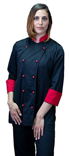 tessile astorino Bordado gratuito – Chaqueta de cocinero de cocina – Casaca Chef Mujer – Negra y roja – Fabricado en Italia Negro y Rojo, Mujer L