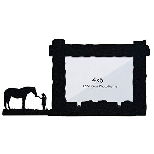 Innovative Fabricators, Inc. Girl Feeding Horse 4X6 Horizontal Picture Frame