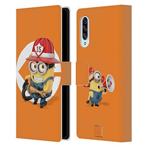 Head Case Designs Oficial Despicable Me Disfraz de Bombero Bob Esbirros Carcasa de Cuero Tipo Libro Compatible con Samsung Galaxy A90 5G (2019)