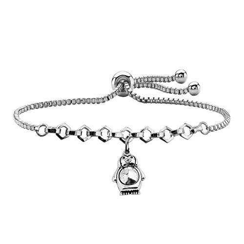 QIIER Penguin Love Gift Penguin Charm Slider Bracelet Animal Jewelry Daughter Gift Girlfriend Gift (Silver)