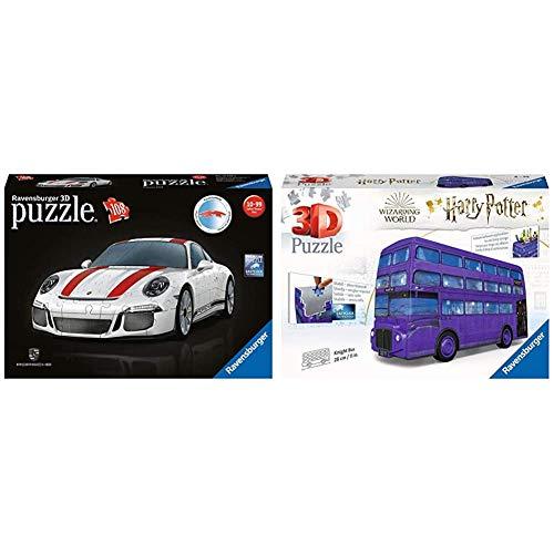 Ravensburger 3D Puzzle 12528, Porsche 911 R, 3D Puzzle für Kinder und Erwachsene mit 108 Teilen & 3D Puzzle Harry Potter Knight Bus - 3D Puzzle für Kinder und Erwachsene mit 216 Teilen, Stiftehalter