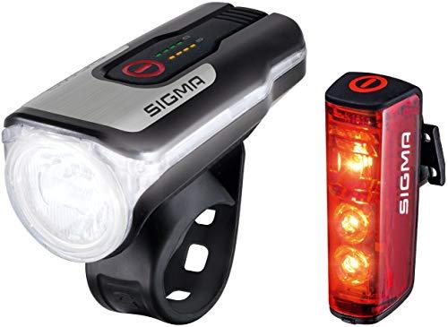 Sigma Sport Unisex– Erwachsene Sigma Aura 80 USB/Blaze Beleuchtungsset, schwarz, Einheitsgröße