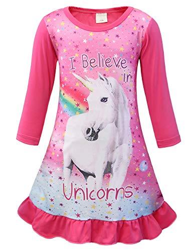 AmzBarley Einhorn Nachthemd Mädchen Kinder Einhorner Nachtkleid Regenbogen Lange/Kurze Ärmel Nachtwäsche Nachthemden Nachtkleider Morgenmäntel