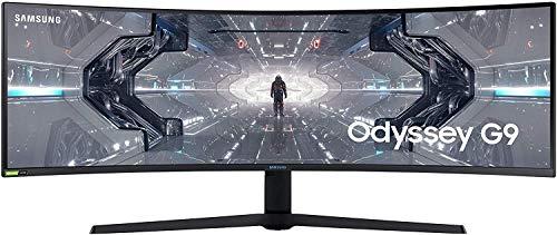 SAMSUNG ODYSSEY G9 49'' Ecran PC Gaming Incurvé 1000R, Dalle VA 49', Résolution DWQHD (5120 x 1440), 240 Hz, 1ms, GSYNC Compatible, AMD FreeSync Premium Pro, HDR1000, Noir