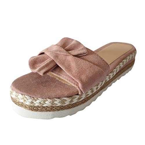 Purchase KCPer Womens Platform Espadrille Wedge Slide Sandals Bowtie Knot Open Toe Slip on Summer Mu...