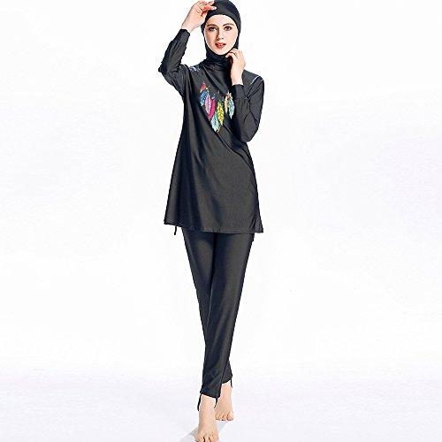 Mr Lin123 Burkini, Badeanzug, für junge Frauen, Muslima, islamischer Badeanzug, Schwimmen, Surfen, Schwarz, Größe 5XL