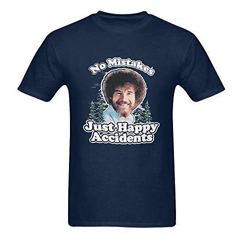 Bob Ross Men's Happy Accidents Summer Black Round Collar T-Shirt