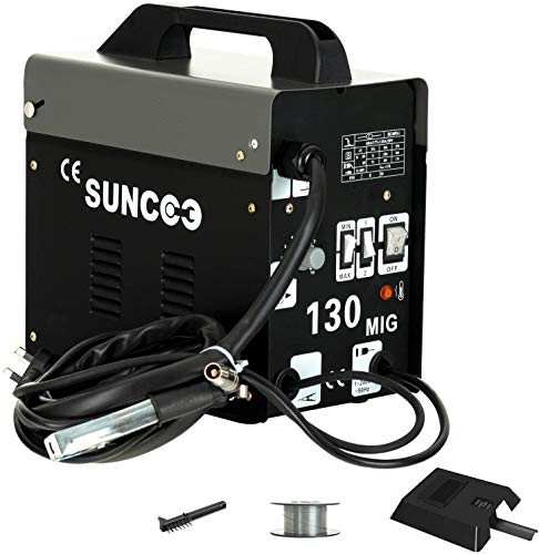 SUNCOO 130 MIG Welder Flux Core Wire Automatic Feed No Gas Little Welder Portable Welding Machine 110 Volt with Free Mask, Spool Gun, Black