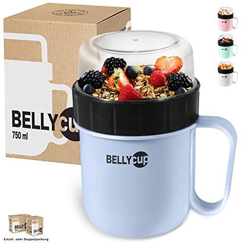 BELLYCUP - Tazas para cereales para llevar - sin BPA - su práctico vaso para cereales para viajes - en gris, rosa o azul