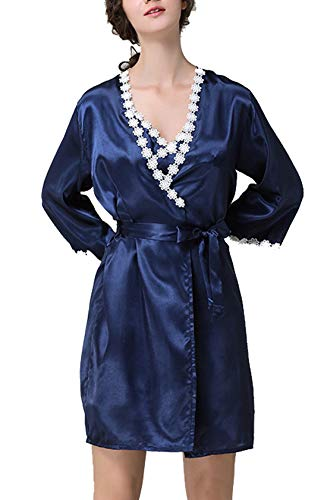 AIVTALK Set Damen Nachthemd 2 Stücke mit Morgenmantel Satin Nachtwäsche Kurz Spitze Sexy Kimono Damen+ Lingerie Sexy Negligee Pyjama Sleepwear 42-44 Blau marine