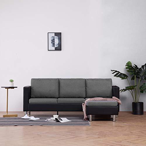 Canapé d'angle 3 places Noir Cuir Pas cher Chesterfield Confort