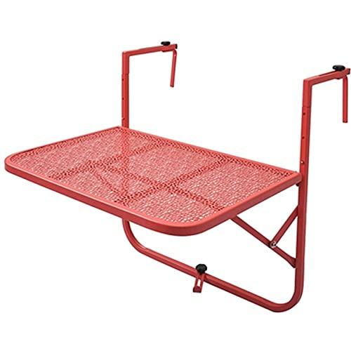 LSXIAO Folding Balcony Hanging Table, Garden Side Tables, Höhenverstellbar Anti-Rost Platzsparend Maximum Load 20kg Für Patio, Balkon, Deck (Color : Red, Size : 60x39x40cm)