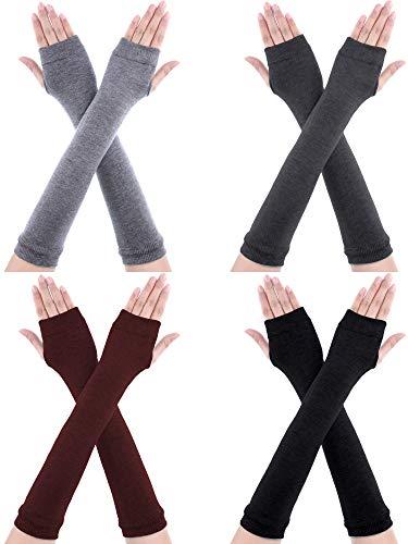 SATINIOR 4 Paar Lange Fingerlose Handschuhe Wärmer Daumenloch Ellenbogen Länge Handschuhe für Frauen (Farbe Set 2)