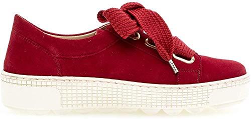 Gabor Damen Schnürschuhe, Frauen Low-Top Sneaker,Best Fitting,Wechselfußbett, leger Halbschuh strassenschuh schnürer Damen,Rubin,39 EU / 6 UK