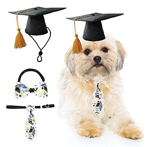 HACRAHO Juego de disfraz de graduacin para mascotas, 3 gorros de graduacin para perros con borla amarilla, gorra de graduacin con corbata ajustable, para perros pequeos y medianos y gatos