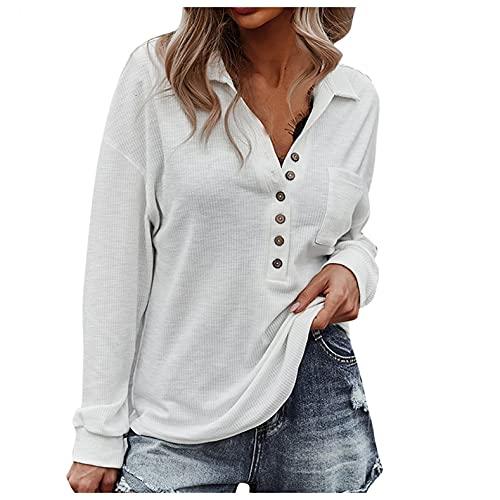 XUNN Camicia da donna alla moda, a maniche lunghe, tinta unita, con bottone a risvolto, casual, casual, camicetta, bianco, S