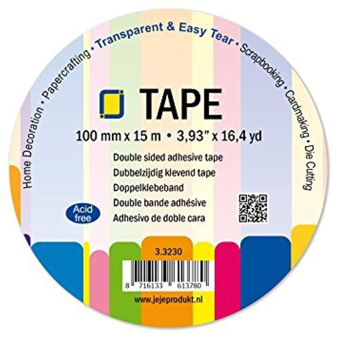 Jeje Double-Sided Clear Adhesive Tape 100 millimetres x 15 metres