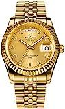 36MM Mens Luxury Quartz Watch with Calendar Luminous Waterproof Wrist Watches (Gold)