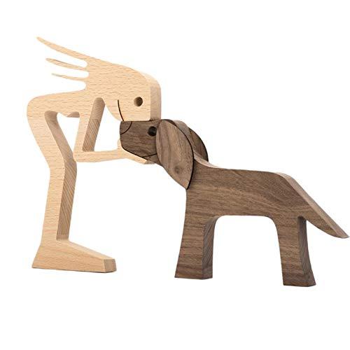 Generp Desktop Holzverzierungen, Familienwelpen Holzverzierungen, handgeschnitzte Holzschnitzdekorationen, DIY Gedenken Familien- und Hundeverzierungen astonishing