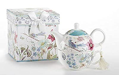 "Delton Product Porcelain Tea for One in Gift Box Partridge 5.8"" Inches"