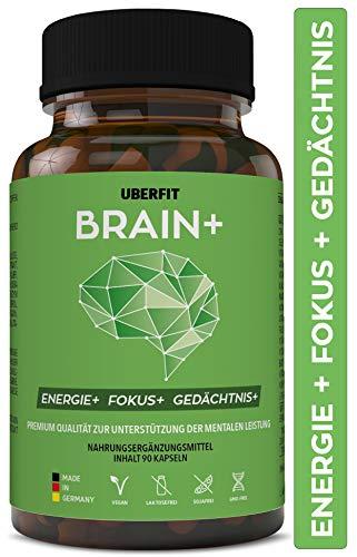 UberFit BRAIN+ Natürlicher Booster für Höchstleistung im Studium & Beruf, Konzentration + Gedächtnis - mit Cholin, Bacopa Monnieri, Ginseng, Ginkgo, Q10, Koffein, Vitamine uvm - 90 Kapseln Vegan