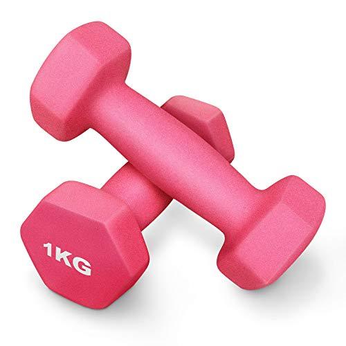 yue Manubri 2 Pezzi 1KG Fitness Manubri in Neoprene Coppia di Manubri a Mano per Uomini Donne Bambini Adulti Casa Esercizio Interno Palestra Sollevamento Pesi Allenarsi Braccio Formazione (Rosa)
