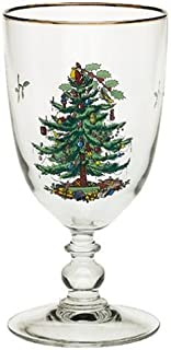 Spode Christmas Tree Pedestal Goblets with Gold Rims, Set of 4