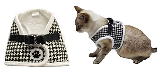 Lanyar Houndstooth Fleece Padded Winter Harness Vest for Pets, Medium: Neck 11