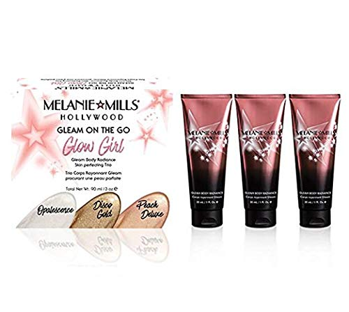 Melanie Mills Hollywood Glow Girl Kit Gleam Face and Body Radiance Moisturizing Body Makeup - Includes Opalescence, Peach Deluxe, Disco Gold, Mini 1 fl.oz. Each