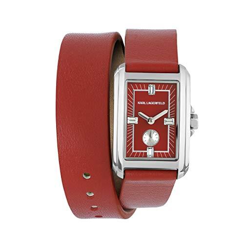 KARL LAGERFELD Women\'s S/S Double Wrap Red Leather Strap Damenuhr, 20mmx31mm, Quarz - 5552746