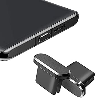 USB C Dust Plug Type C Charging Port Plug Protector Caps for Samsung Galaxy S20 Note 20 All Type-c Devices 2 Pack  Black