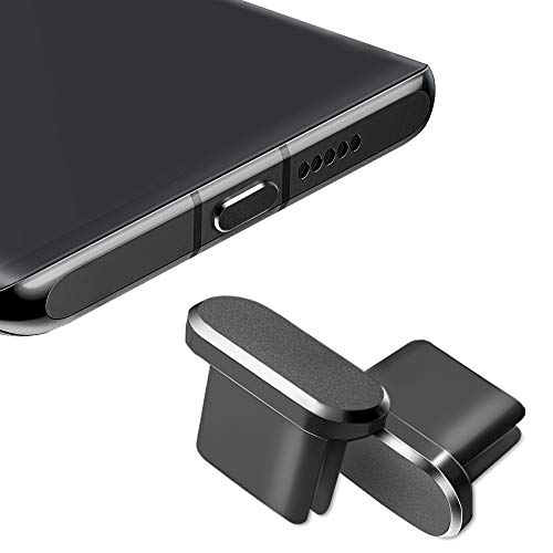 USB C Dust Plug, Type C Charging Port Plug Protector Caps for Samsung Galaxy S20, Note 20, All Type-c Devices, 2 Pack (Black)