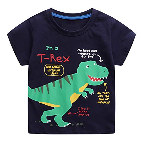JinBei Camiseta Niño Manga Corta Algodon Camisetas Azul Marino Elegante Verano Casual Dibujos Chico Sudadera Estampado de Dinosaurio Verde 1 2 3 4 5 6 7 Años
