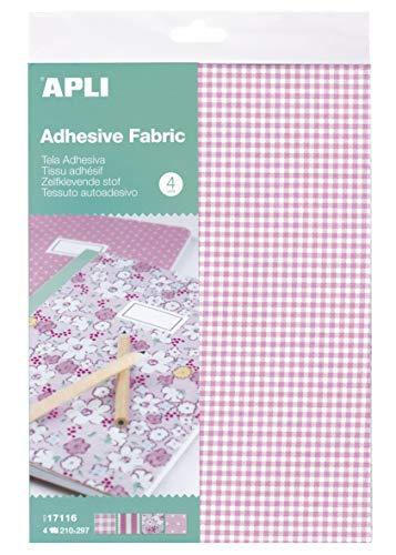 APLI Kids 17116 - Tela adhesiva tonos rosa 4 hojas, Única